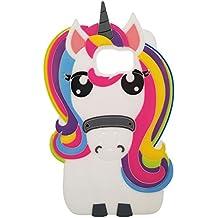 Samsung Galaxy S6 Funda, BENKER Anti-Arañazos y Shockproof Imágenes de Dibujos Animados en 3D de Alta Calidad de Silicona Funda Protección Cubrir Suave Flexible Funda - Rainbow Unicornio