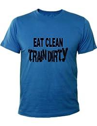 Mister Merchandise Homme Men Chemise T-Shirt Eat Clean Train Dirty Fitness Bodybuilding , Size: XL, Color: Royal
