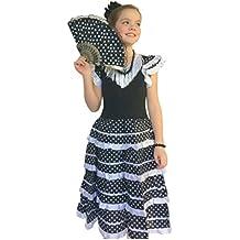 La Senorita Vestido Flamenco Español Traje de Flamenca chica/niños negro blanco (Talla 4, 92-98 - 65 cm, 3/4 años, negro)
