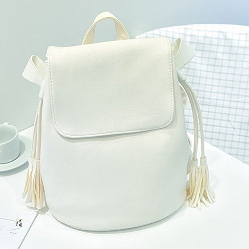 Baymate Ladies Leisure Elegante Zaino Zaini Scuola Daypack Bianco