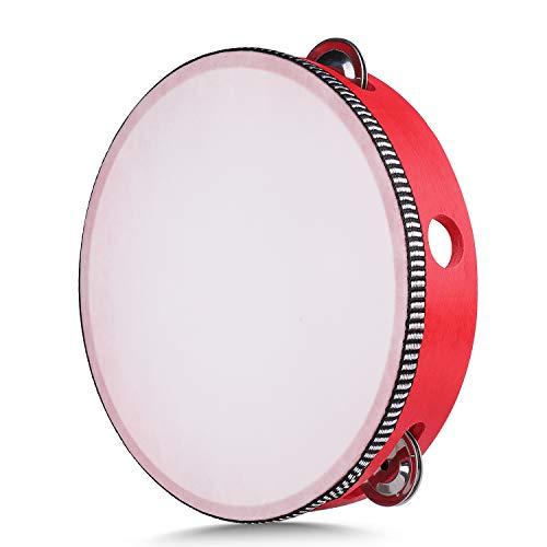 """Flexzion Hand Tambourine 8\"""" Zoll einreihig 5 Paar-Jingles - Hand Percussion Drum Mond Musical Tambourine mit ergonomischem Handgriff-Griff für Kinder Erwachsene Klassenzimmer Geschenk Ktv Partei 1"""