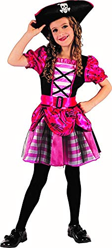 Magicoo Piratenmädchen - Piratenkostüm Kinder Mädchen pink - Kostüm Piratin inkl. Piratenkleid & Hut (92/104)