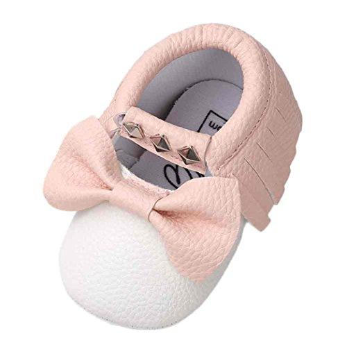 Culater® Bambino Bowknot banda Rivet delicatamente solo scarpe da tennis pattini casuali (12~18 Month, bianca)