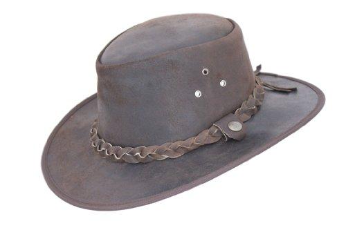0b7f2c3f1bc43 Marrón de Piel Auténtica para hombre australiano gorro de Cowboy con banda  trenzada Marrón marrón