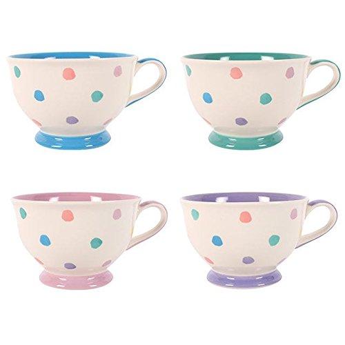 Multi–Color Pastel Lunares–Retro Vintage Tea Time té/tazas de café–juego de 4
