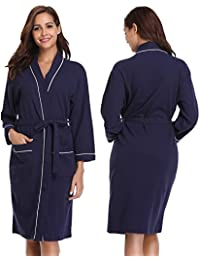 bce881971e Vlazom Unisex Waffle Dressing Gown Pure Cotton Lightweight Bath Robe for  Spa Hotel Sleepwear with All