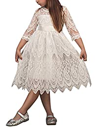 Minetom Fille 2 à 8 Ans Vetement Automne Hiver Princesse Robe de Soirée  Bébé Fille Manche 015c7dcae29