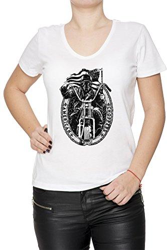 American Choppers Donna V-Collo T-shirt Bianco Cotone Maniche Corte White Women's V-neck T-shirt