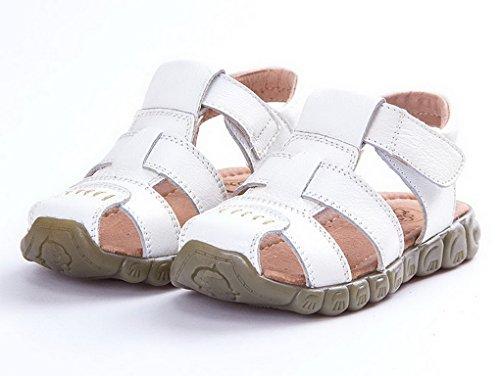 Evedaily Sandale Enfant Bout Fermé Sandales de Marche Randonnée Chaussures Eté Garçon Fille En Cuir Blanc