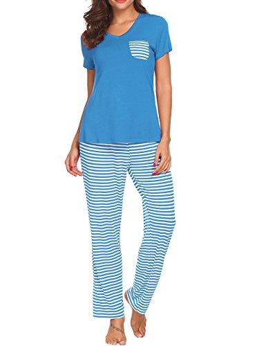 Unibelle Damen Schlafanzug Pyjamas Set Kurzarm Nachtwäsche Mit Spitze Loungewear Hausanzug, Gr.-S, Hellblau
