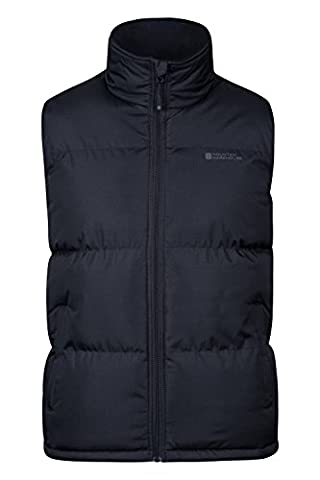 Mountain Warehouse Rock Men's Padded Gilet - Waterproof Fabric with Microfiber Padded Design & Fleece Lined Collar, Adjustable Hem - Ideal for Spring and Autumnal Walks Black
