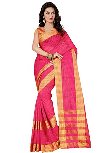 Trendz Cotton Silk Saree with Blouse(TZ_Kumkum_Pink)