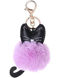 Süßer Schlüssel-//Taschenanhänger EINHORN mit Puschel pink-grau-silber NEU