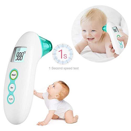 Maple Leaf Stirn- Und Ohrthermometer, Digitalthermometer Profi-Thermometer Für Säuglinge, Kinder Und Erwachsene, Fiebermelder Und Beleuchtetes LCD-Display Mit 35 Datenspeichern,Green