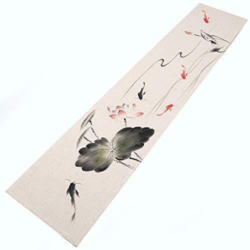 Chemin de table en Coton et Lin, Tapis de Table Faits à la Main, Convient pour Table de Salle à Manger/Table Basse/Armoire (Couleur : A, Taille : 30×260cm)