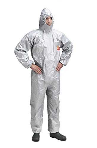 BIOHAZARD PROTECTION - EBOLA - DUPONT TYCHEM F CHEMICAL COVERALLS DISPOSABLE SUIT – XXL- GREY