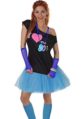 Fun Daisy Clothing Damen I Love The 80er Jahre T-Shirt 80er Jahre Outfit Zubehör, Himmelblau - UK 12-14 / S-M