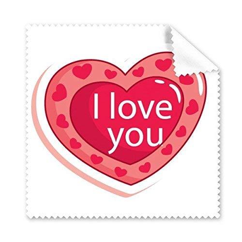 JINSH Rosa Tag der doppelten Schichten des Herzens rosa geformt ich Liebe Dich Abbildung-Muster-Glas-Tuch-Reinigungs-Tuch-Telefon-Bildschirm-Reiniger