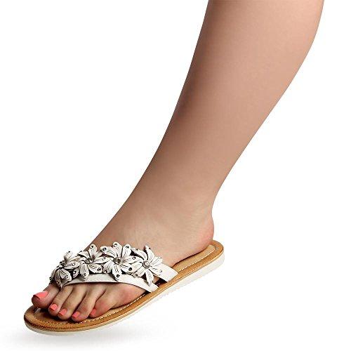 topschuhe24 859 Damen Zehentrenner Sandalen , Farbe:Schwarz;Größe:39