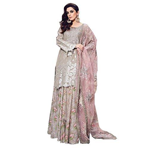 Hautewagon Pure Cotton Pakistani Lawn Suits with Lawn Bottom and Net Dupatta,...