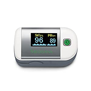 Medisana PM 100 Pulsoximeter zur Messung der Sauerstoffsättigung im Blut, Fingerpulsoximeter zur Pulsmessung, Oximeter mit OLED-Display und einfacher One-Touch Bedienung 79455