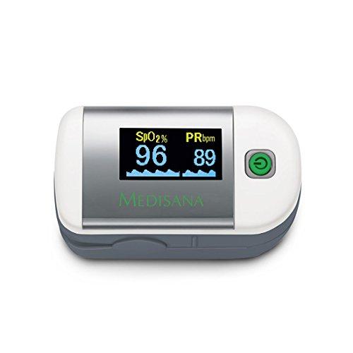 Medisana PM 100 79455, Pulsioxímetro, para medir la saturación de oxígeno en la sangre, la frecuencia cardíaca, oxímetro con pantalla OLED y simple operación de un solo toque