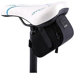 Bolso para Sillín Alforjas tija sillín de ciclismo Impermeable para Bicicletas de Montaña y de carretera Asiento Paquete (Negro)