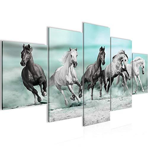 Bilder Pferde Wandbild 150 x 75 cm Vlies - Leinwand Bild XXL Format Wandbilder Wohnzimmer Wohnung Deko Kunstdrucke Blau 5 Teilig - MADE IN GERMANY - Fertig zum Aufhängen 014153b