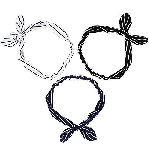 UTOVME Damen Mädchen 3 Stück Set Stirnbänder Hase Ohr Stirnband Kariertes Haarband Vintage Haar Dekor Halter Kopfband Einheitsgröße