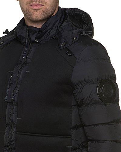 BLZ jeans - Doudoune bi-matière à capuche noire homme Noir
