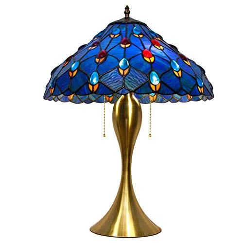 Moderne große Nachttischlampe, E27 Tiffany Stil Tischlampe, blaues Glas und Juwelen Design Schreibtischlampe mit Legierung Basis für Schlafzimmer, Wohnzimmer-12 Zoll