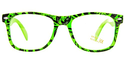 Nick and Ben Nerd-Brille Dollar-Brille Club Brille 100% Original CLEAR Sonnenbrille Stil Pilotenbrille Vintage Look Neon Grün Dollar