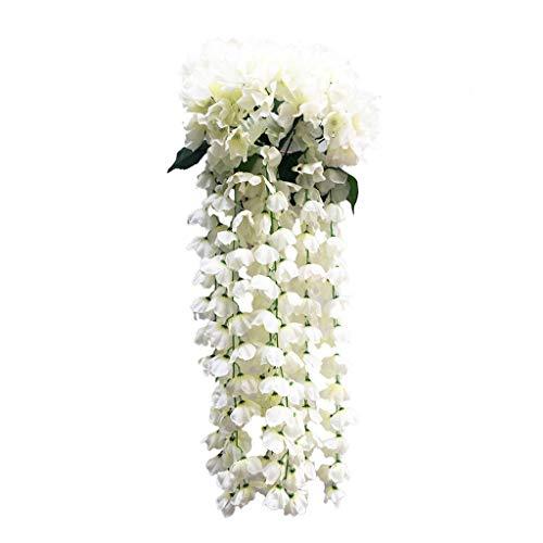 FOUNFME Hängende künstliche Violette Blumen Wand Glyzinien Korb hängen Garten Dekor Balkon Dekor Zeremonie Party Dekor Blume (Wand-dekor-garten)