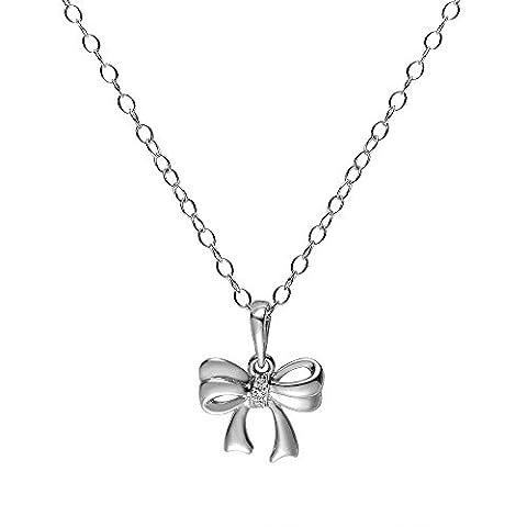 Ivy Gems 925Sterling Silber Diamant Set Schleife Drop Halskette mit 46cm Kette