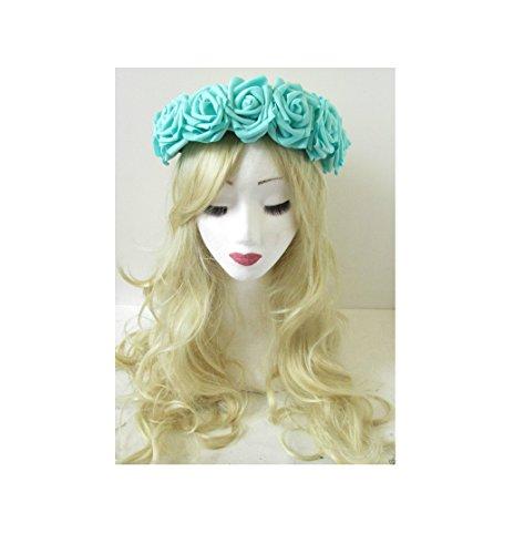 Grand Bleu Turquoise Vert Fleur Rose Bandeau Guirlande Festival Vintage Big P88 * * * * * * * * exclusivement vendu par – Beauté * * * * * * * *