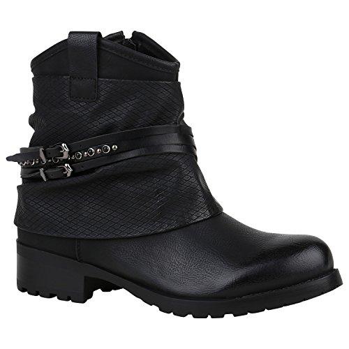 Stiefelparadies Damen Biker Boots Leder-Optik Stiefeletten Warm Gefütterte Booties Blockabsatz Winter Schuhe Winterboots Zipper Snake Print Flandell Schwarz Schnallen