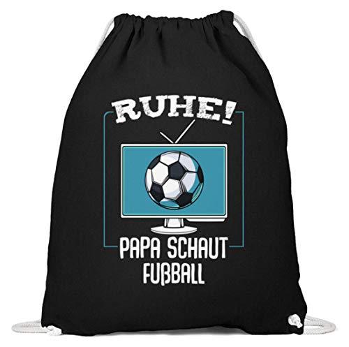 Kleidungskulisse Ruhe Papa Schaut Fußball Ideales Geschenk für den besten Vater Papa Stiefvater Fußballfan - Baumwoll Gymsac -37cm-46cm-Schwarz