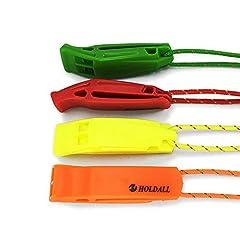 Idea Regalo - Fischietto Holdall di emergenza con cordino (4pezzi), fischietto di sicurezza per esterni, di sopravvivenza in caso di pericolo, per kayak, canottaggio e di segnalazione