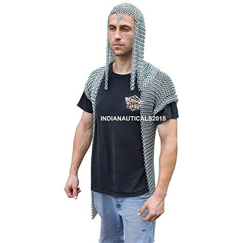 NASIR ALI Functional Stronghold Chainmail Shirt with Hood Silver Reenactment