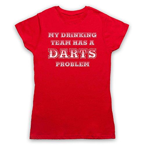 My Drinking Team Has A Darts Problem Funny Darts Slogan Damen T-Shirt Rot