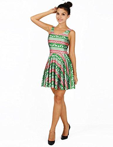 Ninimour Robe Patineuse Fleur Imprimé Bretelles Femme Multicolore-4