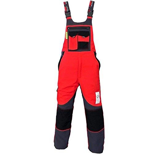 WOODSafe® Schnittschutzhose Klasse 2, kwf-geprüfte Forsthose, Latzhose rot/grau, Herren - Waldarbeiterhose Größe 60