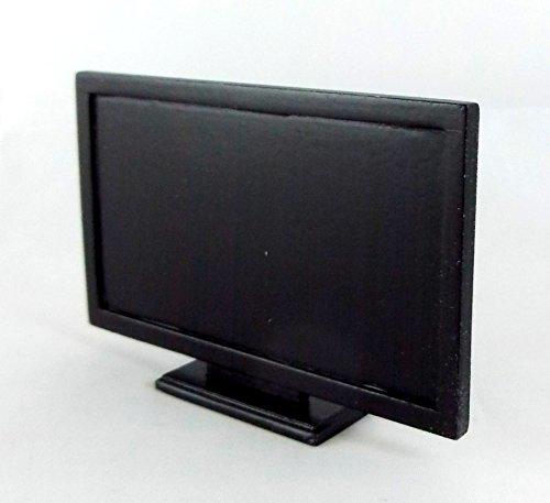 Preisvergleich Produktbild Puppenhaus Feine Miniatur Wohnzimmer Zubehör Schwarz Holz Flachbildschirm TV