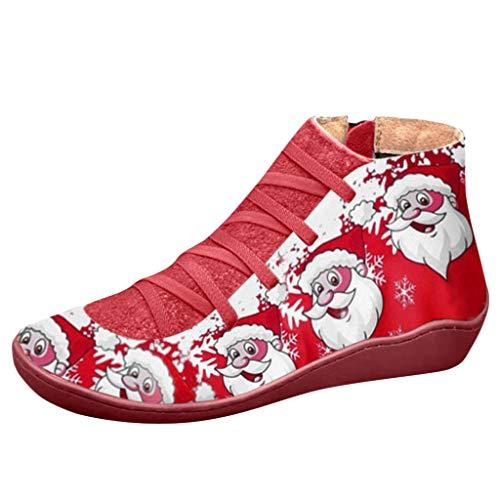 Artistic9 Frauen Mid Top Faux Wildleder Ankle Sneaker Bootie Arch Support Weihnachtsmann Print Round Toe Schnürschuhe Chukka-Stiefel Seitlicher Reißverschluss Leichte Bequeme Casual Sneakers Rot -