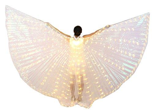 Dance Fairy Bauchtanz LED Engel Isis Flügel Mit Teleskopstangen / Stöcke (Stöcken Tanz Kostüme)