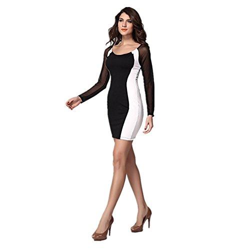 Sexy robe élastique avec manches Noir/blanc