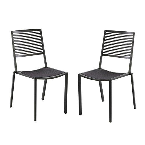 Weishäupl Easy Stuhl Set 2 Stück, grau metallic pulverbeschichtet Inkl. 2 Auflagen anthrazit -