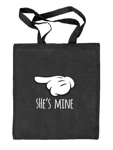Shirtstreet24, Valentinstag - She's Mine, Kombi Natur Stoffbeutel Jute Tasche (ONE SIZE) schwarz natur