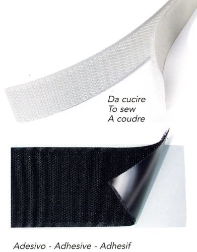 Fettuccia in Velcro per Tende Maschio ADESIVA-Femmina da Cucire Bianco cf. 25 Mt