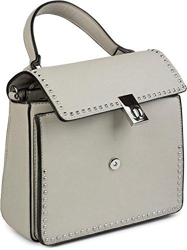 styleBREAKER Satchel Henkeltasche mit Pyramiden Nieten, Handtasche, Tasche, Damen 02012216, Farbe:Rose Weiß